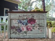 You probably remember this beautiful dresser that I shared a couple of weeks ago with its amazing … and huge … Prima Marketing Rose Celebration transfer. Prima had sent me several of th… Hand Painted Chairs, Funky Painted Furniture, Decoupage Furniture, Furniture Projects, Furniture Makeover, Cool Furniture, Furniture Design, Floral Furniture, Wallpaper Furniture