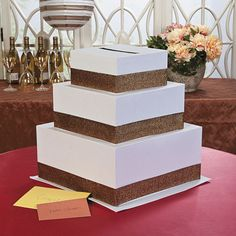 3Tier Cake MONEY Gift Card Box Wedding Decoration Anniversary Wishing Well White