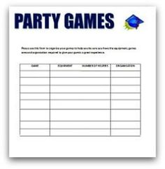 graduation party planning party games list