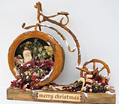 I had the most fun creating this wonderful Merry Christmas Bike Frame on Live With Prima. I used Prima's Metal Bike Frame and the go. Christmas Crafts, Christmas Decorations, Christmas Ornaments, Holiday Decorating, Christmas Ideas, Winter Christmas, Merry Christmas, Bicycle Cards, Old Fashioned Christmas
