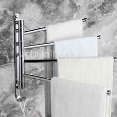 Towel Rack with Hooks,Contemporary Chrome Finish Four Bars Active Brass,Bathroom Accessory - USD $36.89