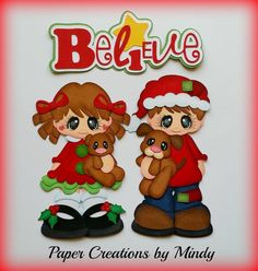 Girl & Boy Believe Christmas Paper Piecing
