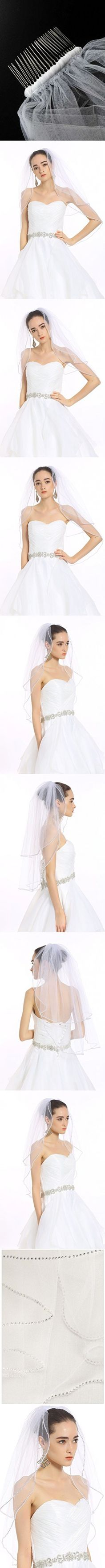 """Passat Ivory 2T Two Tier Short Sparkling Rhinestone Edged Mid Veil Wedding Bridal Veil 225 Size 2T(1st tier 24"""", 2nd tier 36"""") Color Ivory"""