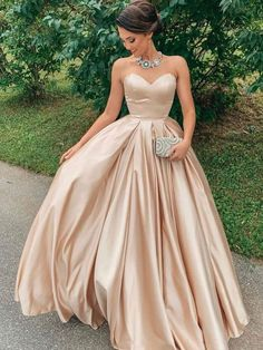 Ball Gown Sweetheart Satin Long Prom Dress Formal Evening Dresses / friday dresses in new fashion · Friday Dresses · Online Store Powered by Storenvy Poofy Prom Dresses, Prom Dresses Under 100, Pretty Prom Dresses, A Line Prom Dresses, Cheap Prom Dresses, Formal Evening Dresses, Ball Dresses, Dress Formal, Sweet 16 Dresses