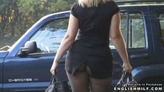 Pantyhose upskirt nylon tights arse ass butt bottom flashing public exhibitionist woman in mini skirt and pantyhose.