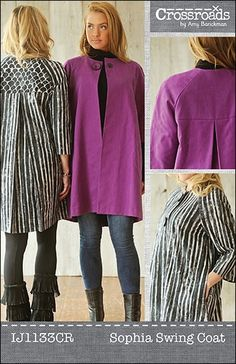 This unlined swing coat features raglan sleeves & back yoke for a sophisticated style. Instructions include inseam pockets & two sleeve length options. Sizes: XS-3XL