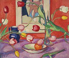 'Tulips - The Blue Jug' van Samuel John Peploe, één van de vier 'Scottish Colourists'