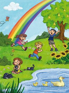 Another illustration for a Pearson kindergarden book. Children playing at the park