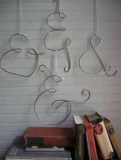 Items similar to Ampersand Sign Metal Beautiful Decoration for Office, Library, or Wedding on Etsy Wire Hanger Crafts, Wire Hangers, Wire Crafts, Arts And Crafts Projects, Crafts To Do, Ampersand Sign, Letter Symbols, Metal Letters, Pinterest Diy