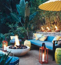 great fire pit and comfortable outdoor seating