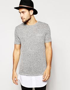 Image 1 of ASOS Super Longline Knitted T-Shirt With Mock Shirt Hem