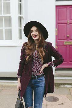 burgundy coat //