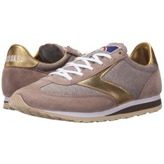 Brooks Heritage Vanguard (Sand/Gold) Women's Running Shoes ($75) ❤ liked on Polyvore featuring shoes, athletic shoes, athletic running shoes, brooks footwear, wedge shoes, leather upper shoes and laced shoes