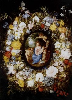 Jan Brueghel the Elder (1568-1625) and Hendrick van Balen  the Elder(1575-1632) —   Flower Garland with the Holy Family and John the Baptist, after 1608   (861x1200)