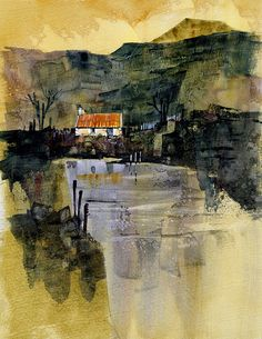 """"""" Dark reflections by Paul Bailey in Southminster, UK. Love this dude's style. It looks like oil, doesn't it? I seriously want to pick this apart but I'm going to say that for Bailey's next. Learn Watercolor Painting, Watercolor Landscape, Abstract Landscape, Landscape Paintings, Abstract Art, Landscapes, English Artists, Contemporary Landscape, Art Oil"""