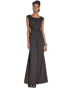 Jessica Simpson Dress, Sleeveless Sequin-Mesh Gown - Dresses - Women - Macy's