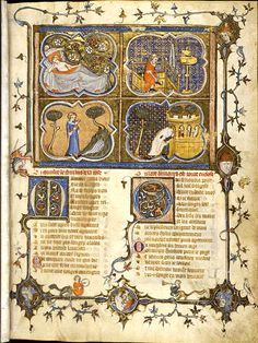 """Roman de la Rose,French, tempera on vellum, 1353   When I the age of 20 had attained –  The age when Love controls a young man's heart –  As I was wont, one night I went to bed  And soundly slept. But there came a dream  Which much delighted me, it was so sweet"""""""