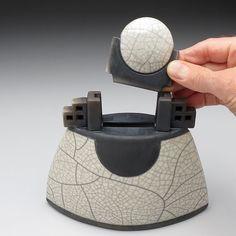 Ceramic sculptural vessel,Lunar Vessel, Raku Fired Art Pottery. $155.00, via Etsy.