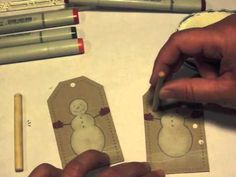 cardmaking video ... Make it Monday #25: Coloring with White Ink ... kraft base with white craft ink ... Christmas card ... snowman ...  YouTube