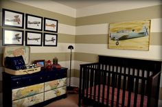Aviation Themed Nursery - love the stripes and fun accents in this sweet baby room!