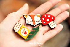 Lovely wooden brooch, set of 3 pieces - laser cut wood on Etsy, $12.70 AUD