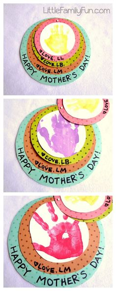 Little Family Fun: Handprint Circles Mothers Day Card