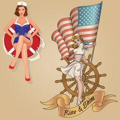 Pin-up Girls Sailor Tattoo
