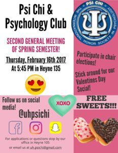 Don't forget that our second meeting of the semester is today! In addition to normal announcements, there will be chair elections, and a Valentine's party. Some come on down and eat some sweets!