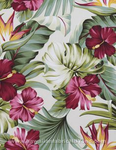 Tropical rayon fabric #hawaii #rayon #tropical #sewing #hibiscus #monstera #birdofparadise #fabric #tissu #stoff