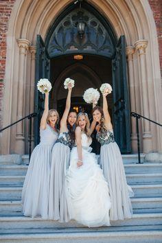 Silver and gray bridesmaid dresses.