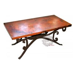 table basse de salon exclusive plateau en cuivre pied en fer forg - Salon De Jardin En Fer Color