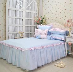 $19.8 Dreams again and again Alice pink lace bed skirt wedding the bedspread cotton twill bed bed sets two -ZZKKO