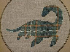 Plesiosaurus! Yay! #crossstitch #plaid #dinosaur