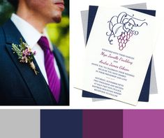 Vineyard wedding color combination: navy, silver and berry for a wine-themed wedding. - Wine Country Occasions, www.winecountryoccasions.com...