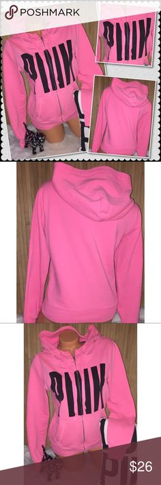 """VS PINK Full Zip crew hoodie SMALL VS Victoria's Secret PINK crew hoodie  Color: bright pink with black graphics nice!! 20"""" chest 22""""length. Sz SMALL loose fit  Pre owned in good condition no holes-show minimal fade/piling from washing. Minor Blemishes on sleeves I have not spot treated. Other than that it's a nice Crew!!see last picture Smoke/pet free. ❤️gladly Bundle. No trades. PINK Victoria's Secret Sweaters Crew & Scoop Necks"""