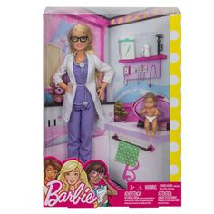 Check out the Barbie Baby Doctor Doll & Playset at the official Barbie website. Explore all our Barbie Career Dolls and Playsets today! New Barbie Dolls, Baby Barbie, Barbie Toys, Barbie Puppy, Barbie Stuff, Baby Girl Blue Eyes, Baby Clothes Blanket, Barbie Website, Barbie Playsets