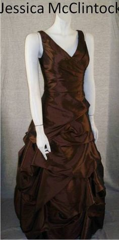 Sable-colored Jessica McClintock gown