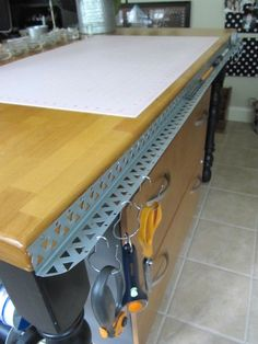 """Awesome - use a metal sheetrock-corner as a """"shelf"""" - to hold pens, pencils, rule, cutting tools, etc."""