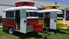 With a queen size bed, the Meerkat travel trailer can sleep 2 and fits in a standard-sized garage.