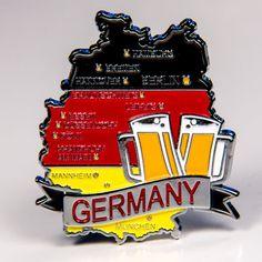 Metal Fridge Magnet: Germany. Map of Germany (Chrome Plating and Enamel)