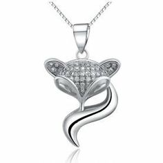 925 Sterling Silver Crystal Studded Fox Pendant Necklace with Cubic Zirconia Crystals Fashion Fine Jewellery (Gift Pouch Included) Fine Fashion Jewellery Small Island, http://www.amazon.co.uk/dp/B00GJ2RT9I/ref=cm_sw_r_pi_dp_TYQptb0GCZAQX