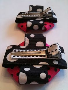 custom square bows on ribbon-wrapped alligator clips