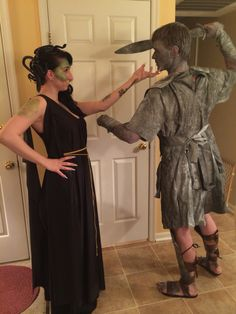 My medusa costume and my bf as my stone victim :)