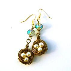 Birds Nest Earrings with pearls by TheTangledNest on Etsy, $15.00