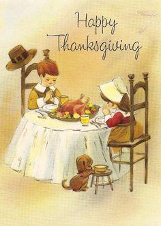 Vintage Thanksgiving card- sweet.