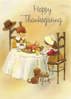 Vintage Thanksgiving card- sweet.