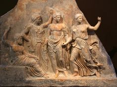 Relief showing Zeus, Apollo and Artemis; from Brauron, Greece; 400 BCE. National Archaeological Museum, Athens, Greece