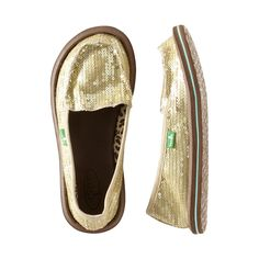 Sparkly AND eco friendly--LOVE it!    Add a little sunshine to your step in these sidewalk surfers. Sequins add super sparkle and tons of fun. More like a sandal than a shoe in feel, you'll wear these everywhere.Sanuk is an industry leader in using innovative material in footwear (yoga mat, indoor/outdoor carpet).