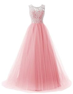 RohmBridal Womens Straps Lace Tulle Prom Dress Party Ball Gown Pink 4 * Check out the image by visiting the link. (This is an affiliate link and I receive a commission for the sales)