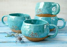 Tazas con dibujo bicicleta